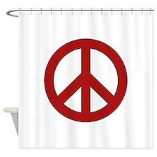 Crimson Peace Sign Shower Curtain