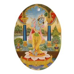 Krishna On Lotus Blossom Oval Ornament