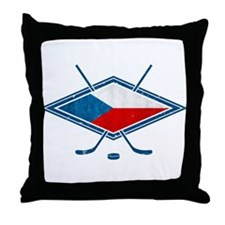 Czech Ice Hockey Flag Throw Pillow