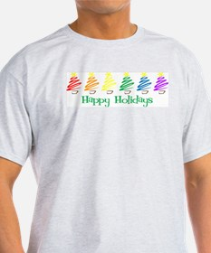 Happy Holidays (Rainbow Trees Ash Grey T-Shirt