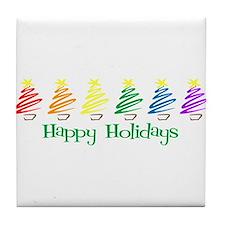 Happy Holidays (Rainbow Trees Tile Coaster
