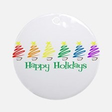 Happy Holidays (Rainbow Trees Ornament (Round)