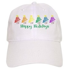 Happy Holidays (Rainbow Trees Baseball Cap