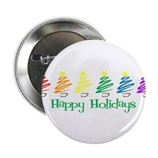 Happy Holidays (Rainbow Trees Button