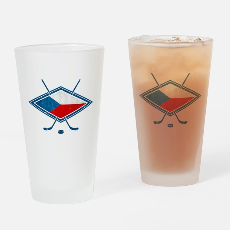 Czech Ice Hockey Flag Drinking Glass