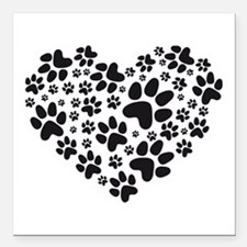 black heart with paws, animal foodprint pattern Sq