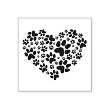 black heart with paws, animal foodprint pattern St