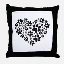 black heart with paws, animal foodprint pattern Th