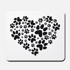 black heart with paws, animal foodprint pattern Mo