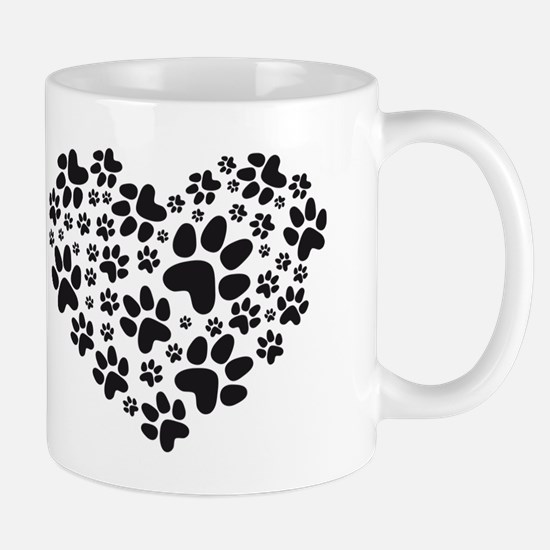 black heart with paws, animal foodprint pattern Mu