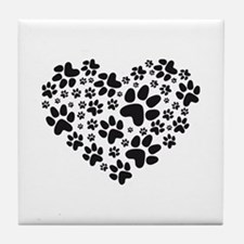 black heart with paws, animal foodprint pattern Ti
