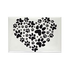 black heart with paws, animal foodprint pattern Re