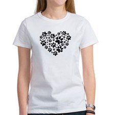black heart with paws, animal foodprint pattern T-