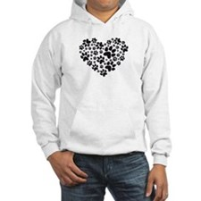 black heart with paws, animal foodprint pattern Ho