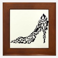 black heart with shoe silhouettes Framed Tile