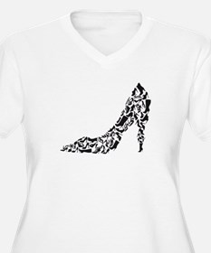 black heart with shoe silhouettes Plus Size T-Shir