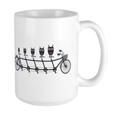 cute owls on tandem bicycle Mug