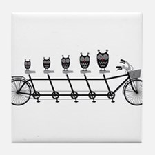 cute owls on tandem bicycle Tile Coaster