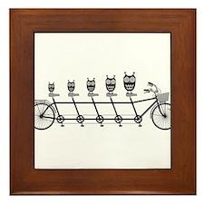 cute owls on tandem bicycle Framed Tile