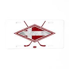 Danish Ishockey Hockey Flag Aluminum License Plate