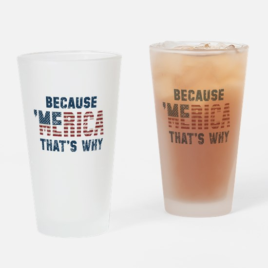 Because 'Merica Vintage Drinking Glass