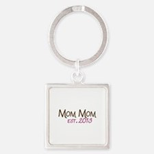 New Mom Mom Est 2013 Square Keychain