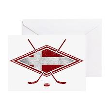 Danish Ishockey Hockey Flag Greeting Card