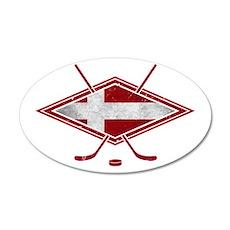 Danish Ishockey Hockey Flag Wall Decal