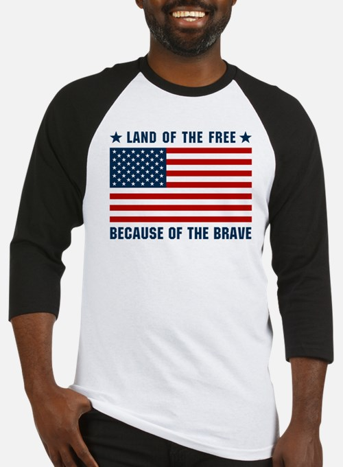 Land of the Free Flag Baseball Jersey