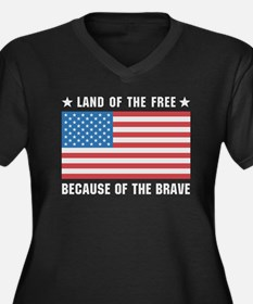 Land of the Free Flag Women's Plus Size V-Neck Dar