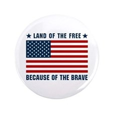 """Land of the Free Flag 3.5"""" Button"""