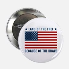 """Land of the Free Flag 2.25"""" Button"""