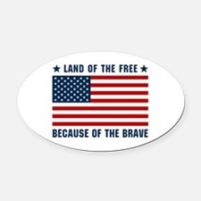 Land of the Free Flag Oval Car Magnet
