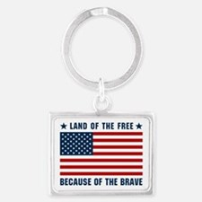 Land of the Free Flag Landscape Keychain
