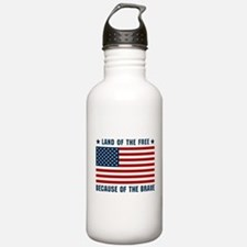 Land of the Free Flag Water Bottle