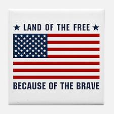Land of the Free Flag Tile Coaster