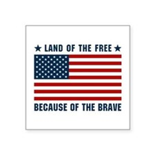 "Land of the Free Flag Square Sticker 3"" x 3"""