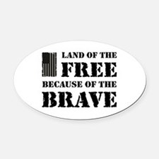Land of the Free Camo Oval Car Magnet