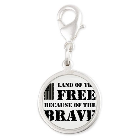 Land of the Free Camo Silver Round Charm