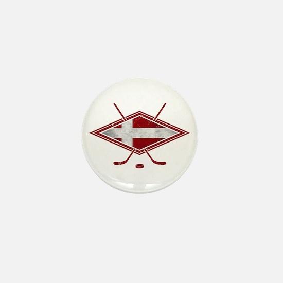 Danish Ishockey Hockey Flag Mini Button