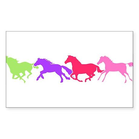 Multi color horses Oval Sticker
