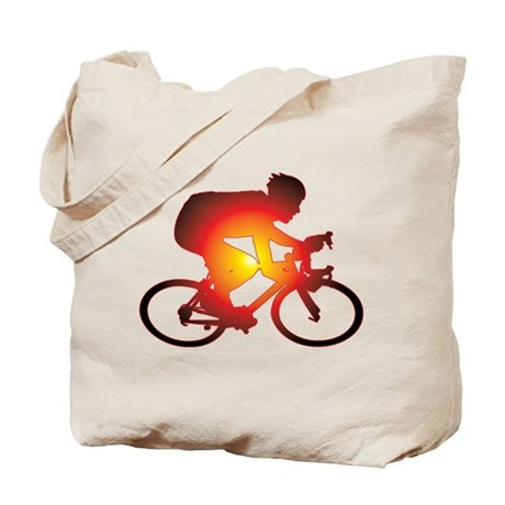 Sunset Bicycle Rider Tote Bag