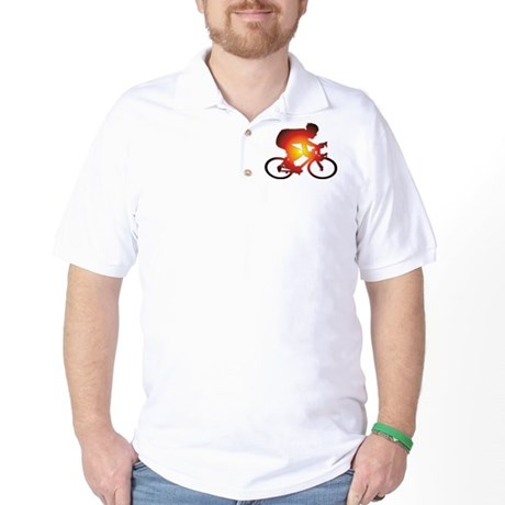 Sunset Bicycle Rider Golf Shirt