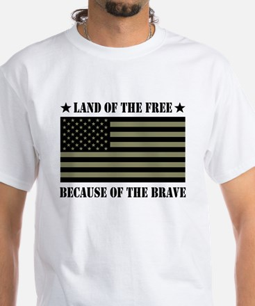 Land of the Free Camo Flag White T-Shirt