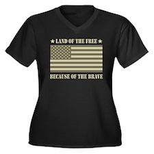 Land of the Free Camo Flag Women's Plus Size V-Nec