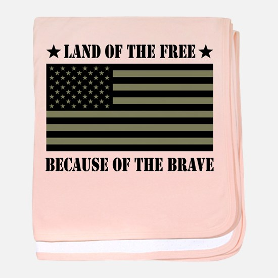 Land of the Free Camo Flag baby blanket