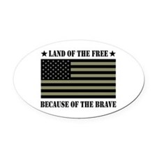 Land of the Free Camo Flag Oval Car Magnet