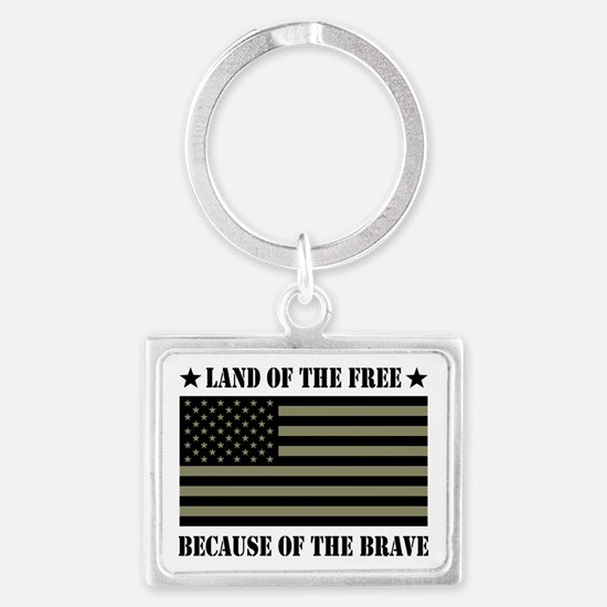 Land of the Free Camo Flag Landscape Keychain