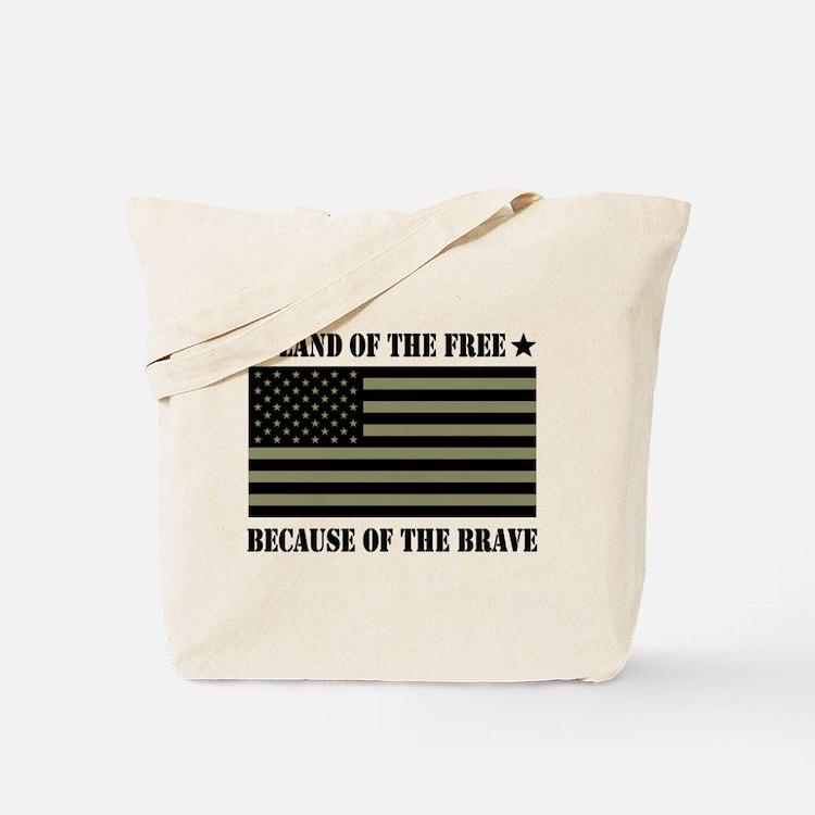 Land of the Free Camo Flag Tote Bag