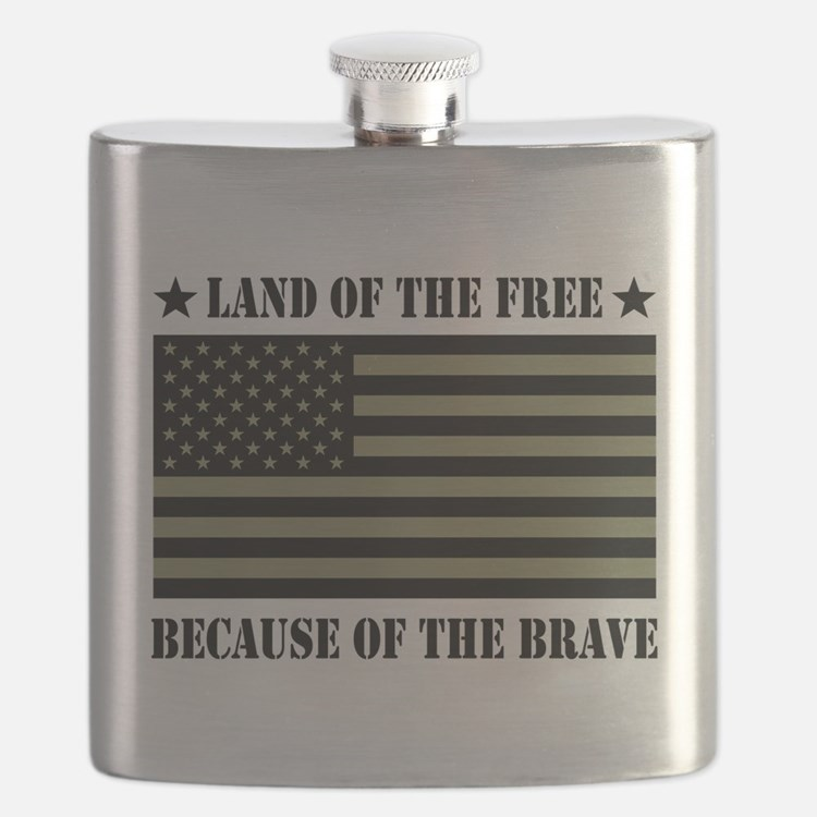 Land of the Free Camo Flag Flask